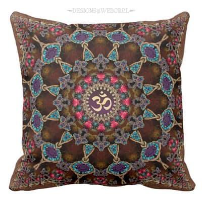 Vintage Bohemian Spiritual Aum Cushion / Pillow by webgrrl