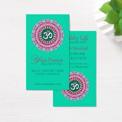 Yoga Om Pink Green New Age Business Cards by onlinecards