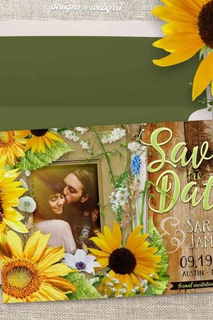 Rustic Sunflower Baby's Breath Save the Date Photo template Card