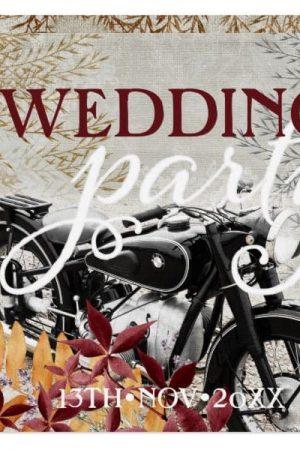 Autumn Rustic Vintage Motorbike Wedding Invitations-back