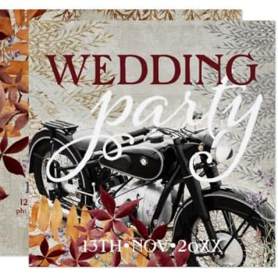 Autumn Rustic Vintage Motorbike Wedding Invitations-back
