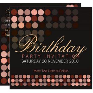 Chocolate Dots Stylish Disco Party Birthday Invitation