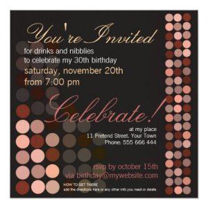 Chocolate Dots Stylish Disco Party Birthday Party Invites