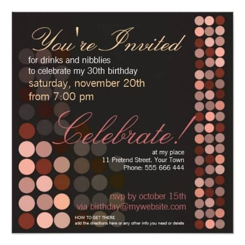 Chocolate Dots Stylish Disco Party Birthday Party Invites
