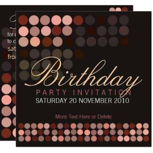Chocolate Dots Stylish Disco Party Birthday Invitation
