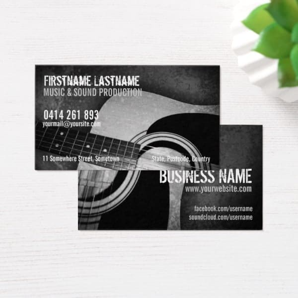Black and white acoustic guitar business cards zazzle acoustic guitar business cards onlinecards zazzle reheart Image collections