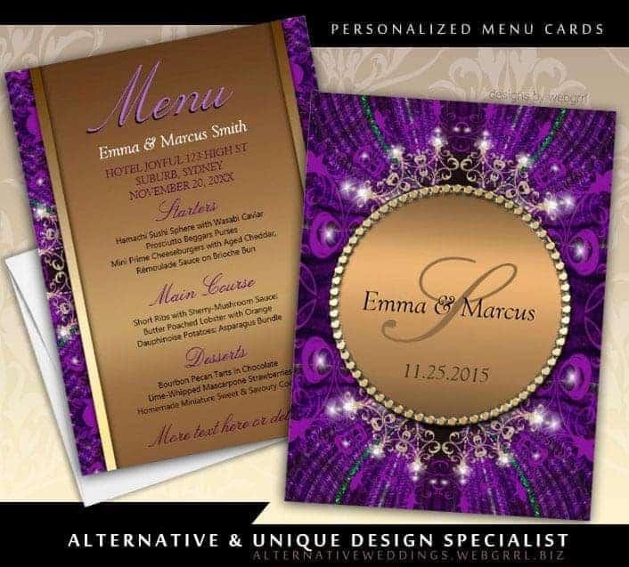 Magical Sparkle Gold Purple Wedding Menu Card