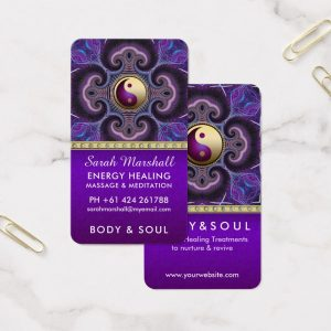 Purple Fractals Healing Energy Holistic New Age Business Card