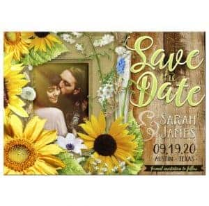 Rustic Sunflower Photo Save the Date Card