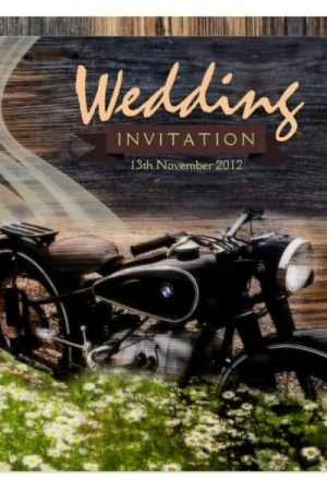 Rustic Vintage Motorbike Wedding Invitations