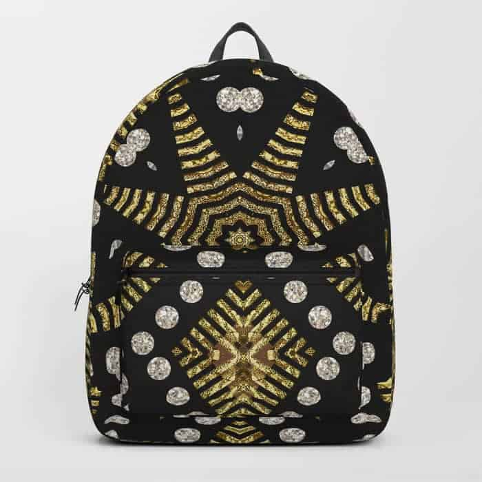 Black Gold Geometric Tribal | Unique Backpack designs by Webgrrl