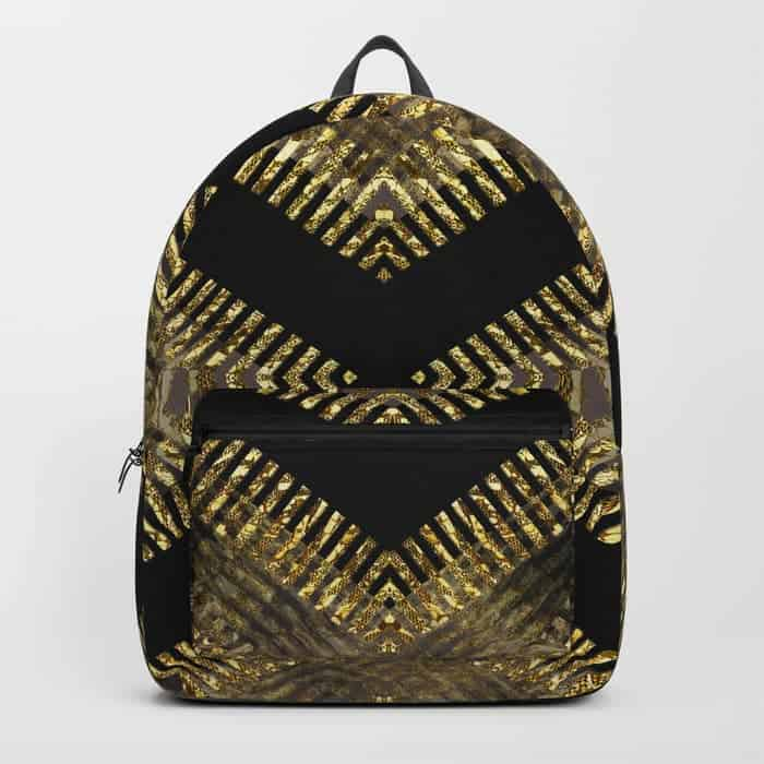 Black Gold Tribal Geometric | Unique Backpack designs by Webgrrl