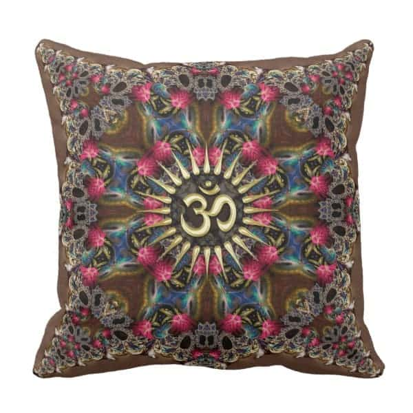 Bohemian Geo-Fractals Vintage OM Sign Cushion designs by Webgrrl