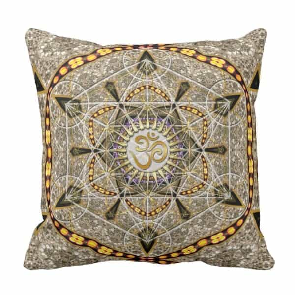 Bohemian Yoga Gold Om Geometry Art Big Cushion designs by Webgrrl