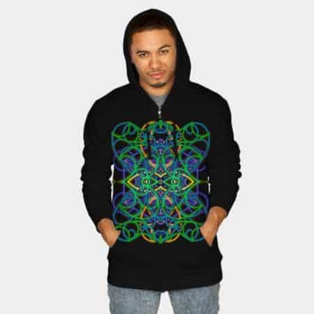 Connected by Love and Psytrance Hoodie by Webgrrl | DBH