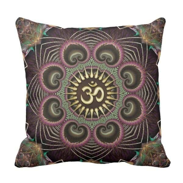 Earth Flower Fractal Energy Mandala Om Symbol Throw Pillow by webgrrl