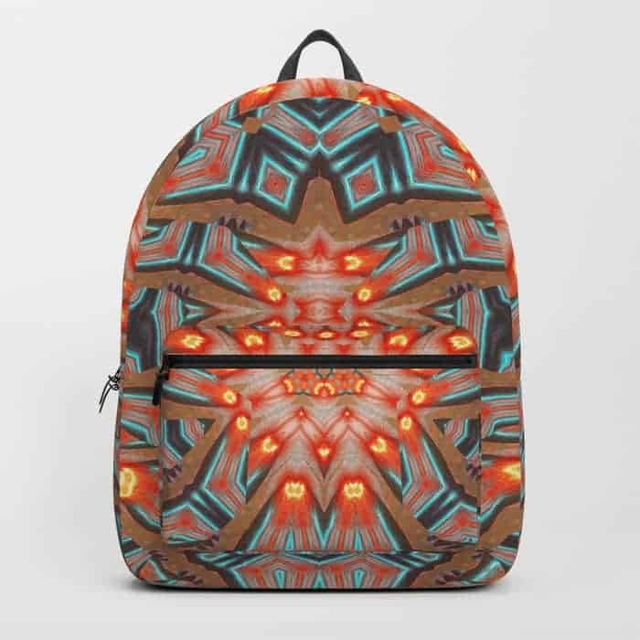 Energy Light Orange & Teal geometry | Unique Backpack designs by Webgrrl