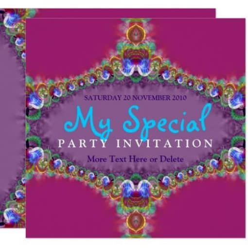 Exotic Energy Fractal Art Invitation by Paperstation