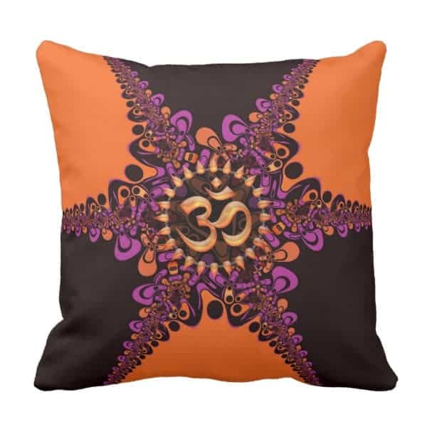 Funky Dark Chocolate Pink Orange OM Sign Cushion designs by Webgrrl