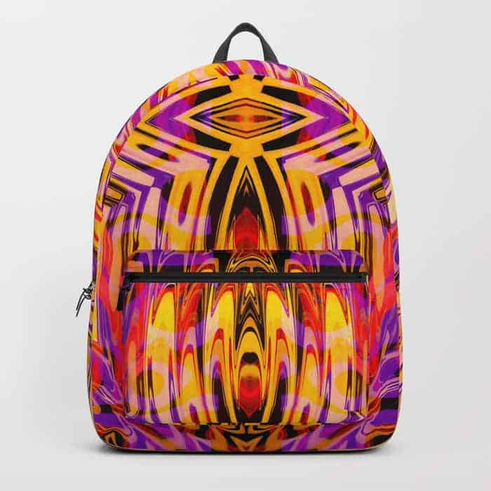 Funkydelic Purple Yellow Geometric | Unique Backpack designs by Webgrrl
