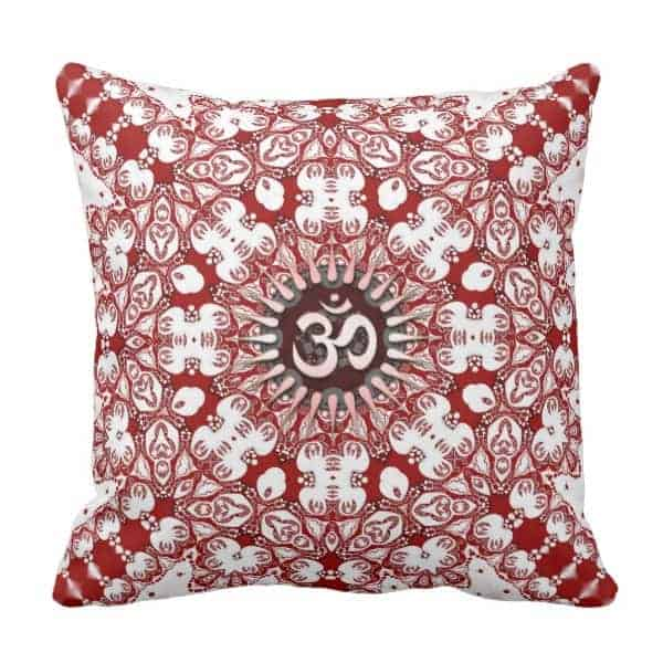 Geo-Lace Mandala White Red OM Cushion / Pillow designs by Webgrrl