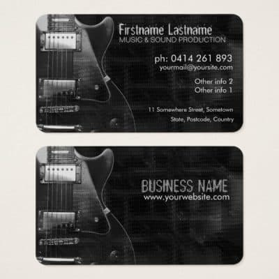 """GreyAZ"" Electric GUITAR Business card (rounded corners)"