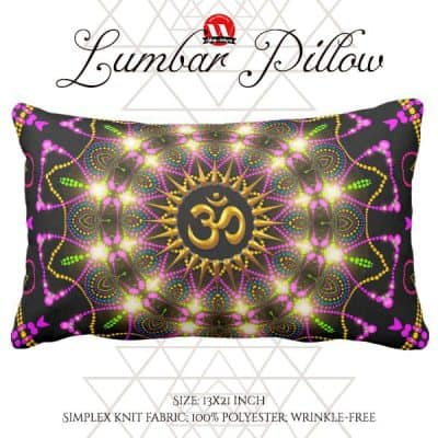 Healing Energy Geometric Mandala Om Symbol Lumbar Pillow by webgrrl