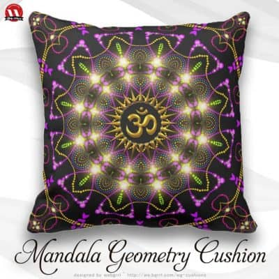 Healing Energy Geometric Mandala Om Symbol Pillow by webgrrl