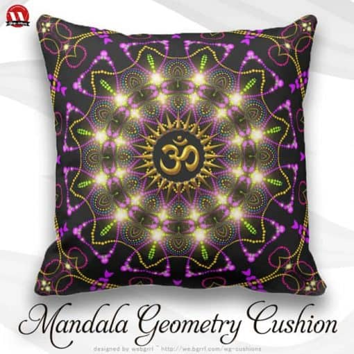 Healing Energy Geometric Mandala Om Symbol Pillow by webgrrl