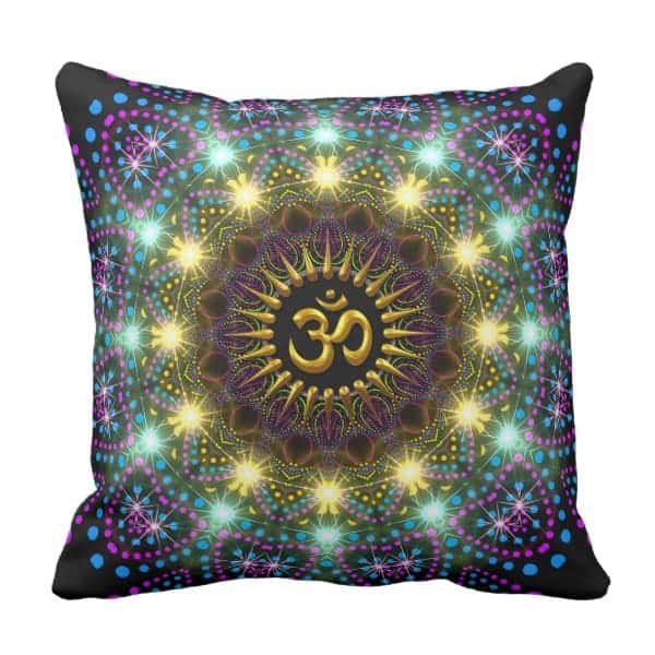 Healing Light Mandala Om Symbol Pillow designs by Webgrrl