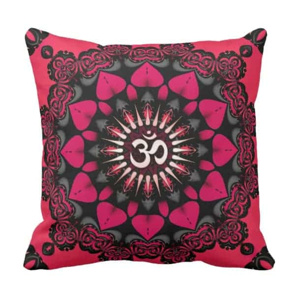 Lotus Love OM Mandala Pink Black Cushion Pillow by Webgrrl | Zazzle