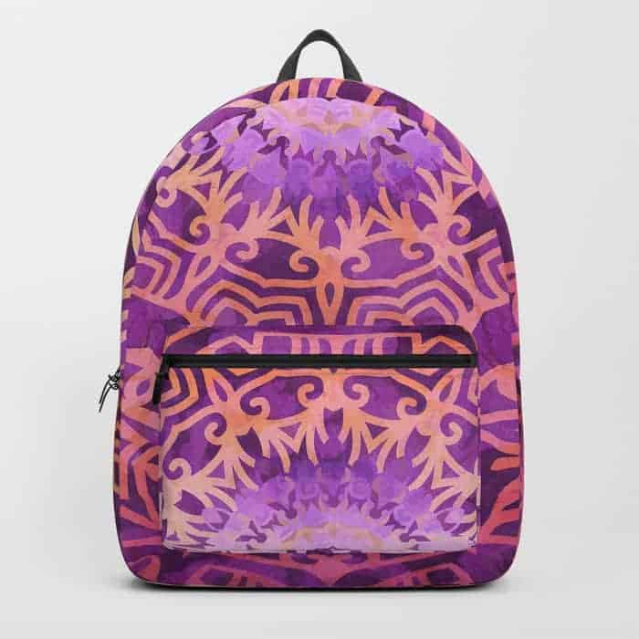 Mandala Pink Night | Unique Backpack designs by Webgrrl