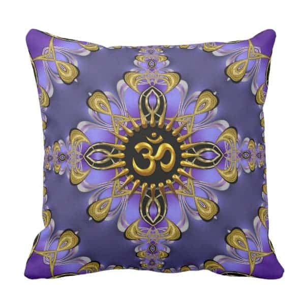 Om (Aum) Purple Gold Pretty Cushion / Pillowdesigns by Webgrrl
