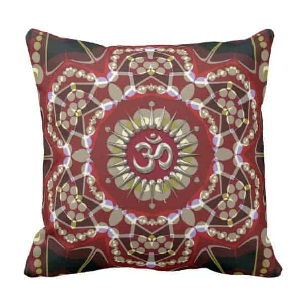 OM Geo-Magic Meditation Yoga Cushion Pillow by webgrrl