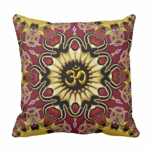 Om Love Hearts Red & Gold Cushion / Pillow designs by Webgrrl