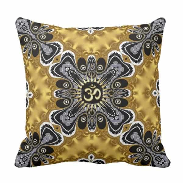 Om Spritiual Art Gold and Black Cushion by webgrrl