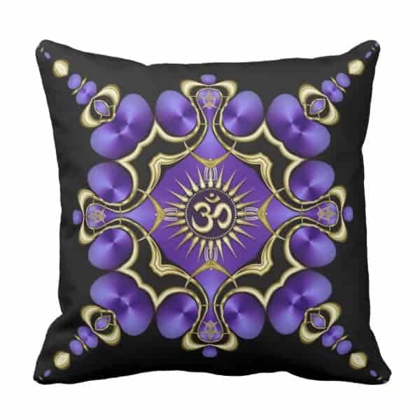 OM Yoga Arts Golden Purple Cushion designs by Webgrrl