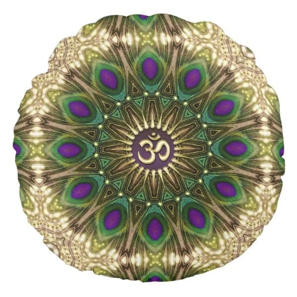 Peacock Bohemian Mandala OM Yoga Round Cushion designs by Webgrrl