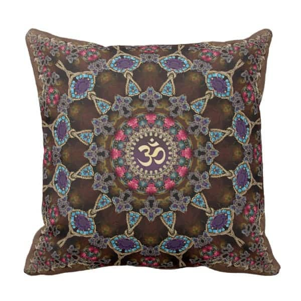 Vintage Bohemian Spiritual Aum Cushion Throw Pillow by Webgrrl | Zazzle