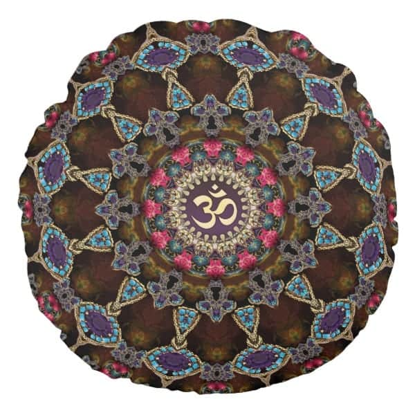 Vintage Bohemian Spiritual OM Yoga Round Cushion designs by Webgrrl