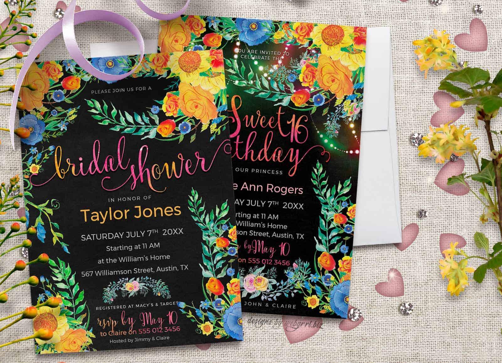 My Best Floral Invitation Card Designs Unique Designs by Webgrrl