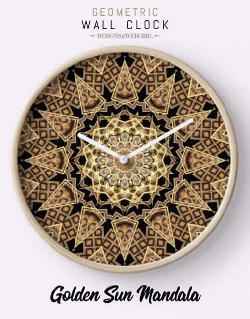Golden Sun Mandala Geometric Flower Clocks