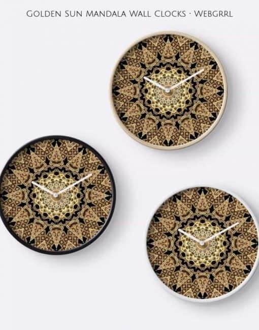 Golden Sun Mandala Geometric Flower Clocks