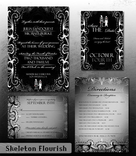 Gothic Wedding Invitation Halloween Wedding Invite Set Skeleton Bride & Groom Offbeat Invitation