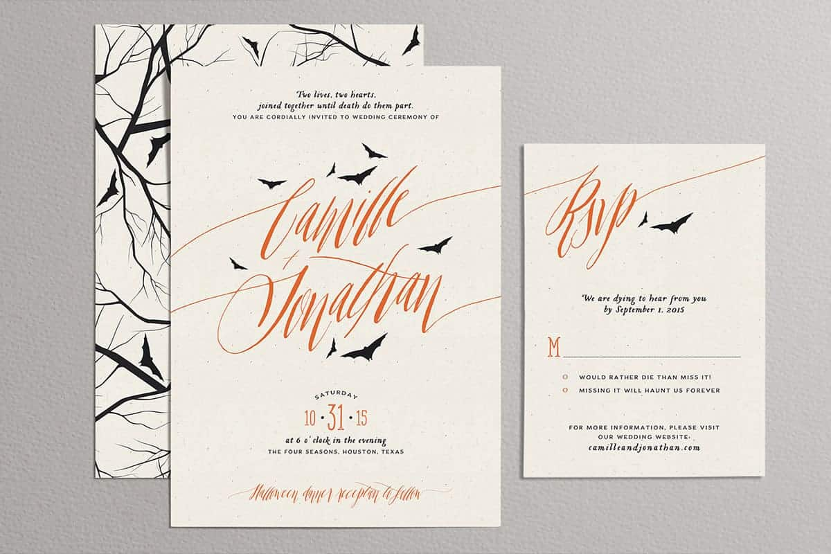 HALLOWEEN WEDDING INVITES, OFF BEAT BRIDE WEDDING SUITE