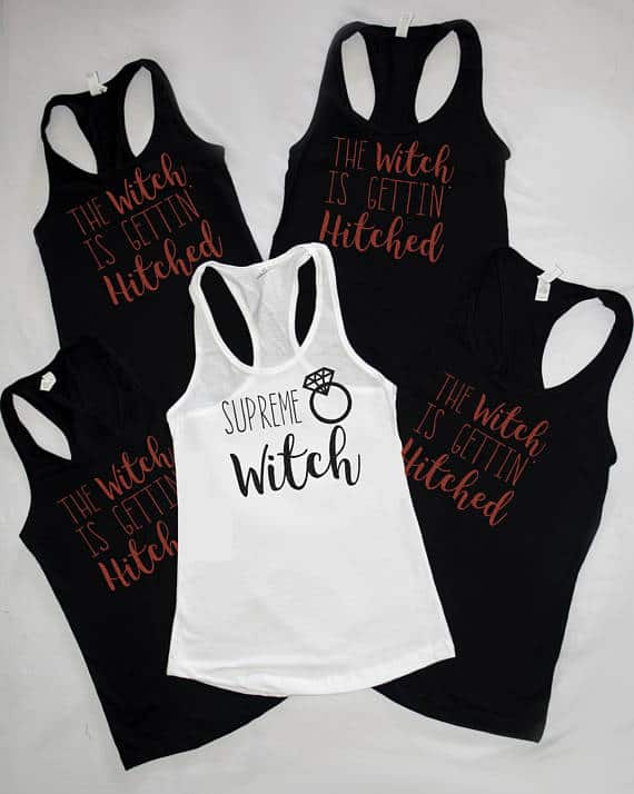 Halloween Wedding - Supreme Witch - The Witch is Gettin' Hitted Bachelorette party tanks