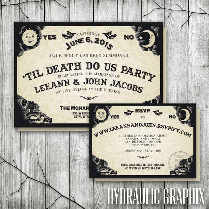 Ouija Board Invitation for Wedding Reception, Halloween Wedding Invite, Til Death Do Us Part, Gothic Invitation, Halloween Party Invitation