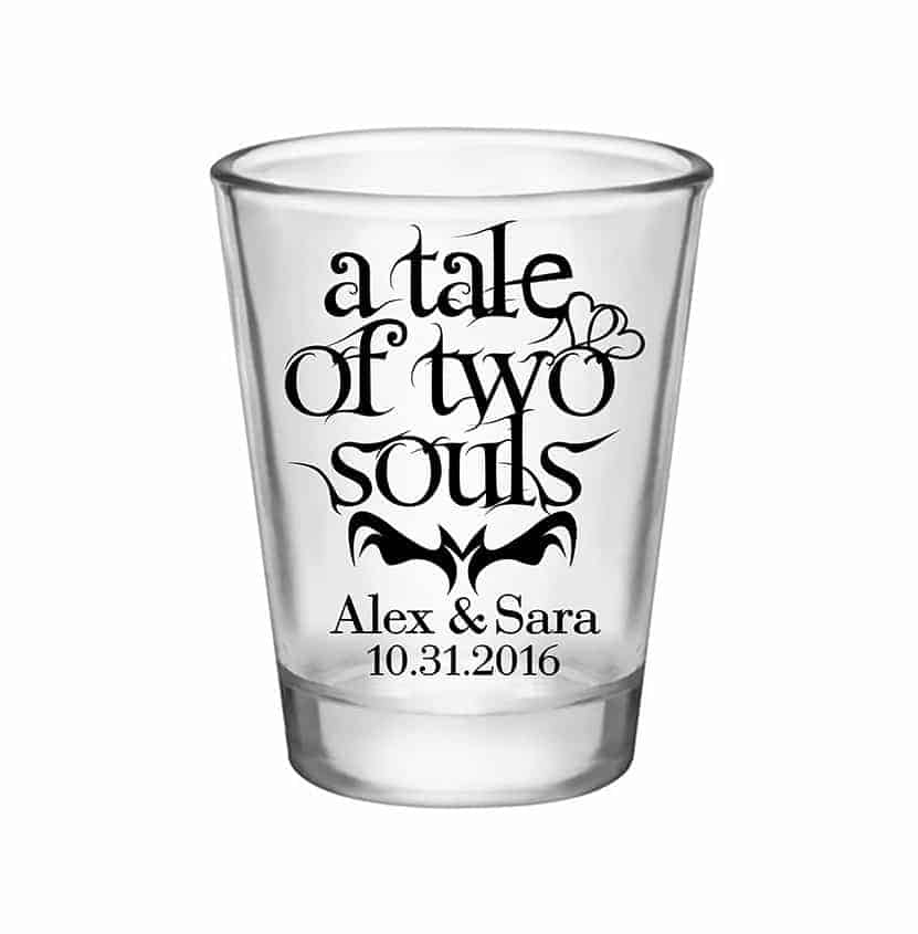 100X PERSONALIZED SHOT GLASSES HALLOWEEN WEDDING FAVORS
