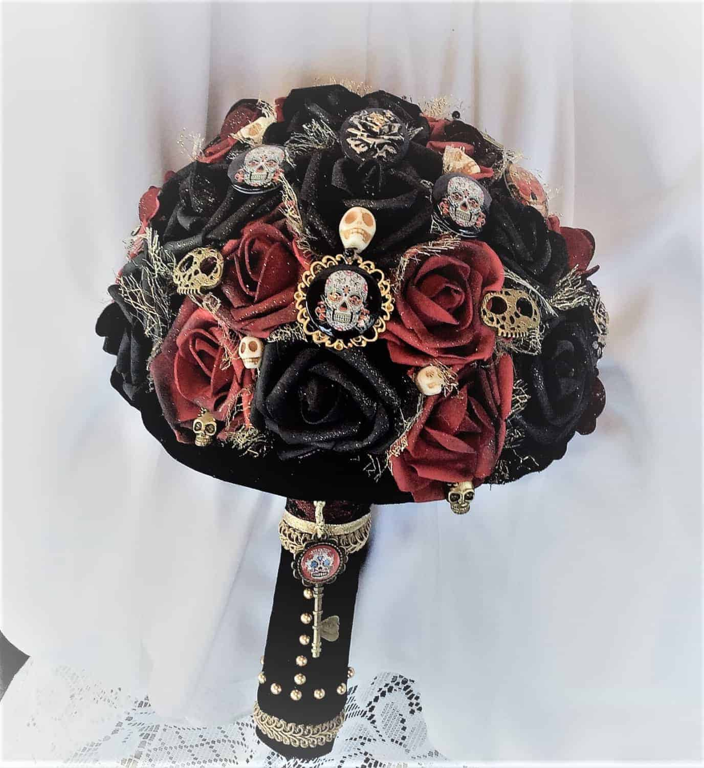 SKULL WEDDING FLOWER BOUQUET- ETSY - BRIDAL FLOWERS