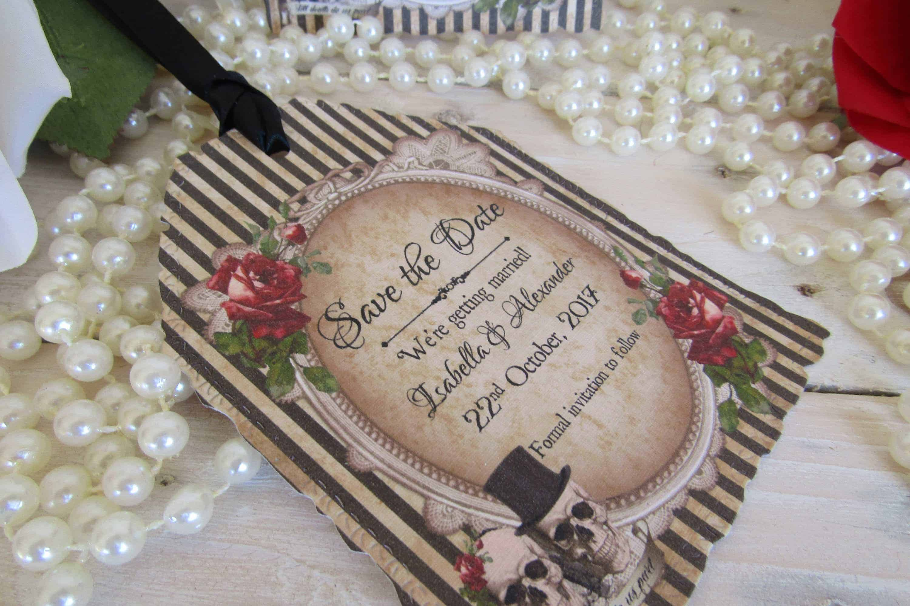 SKULL WEDDING, SAVE THE DATE TAGS ♥ ETSY